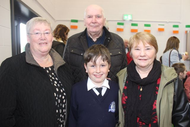 Dylan Griffin with grandparents Marian and Richard O'Brien and Lena Griffin at the Grandparents Day at St Brendan's NS in Blennerville on Wednesday. Photo by Dermot Crean