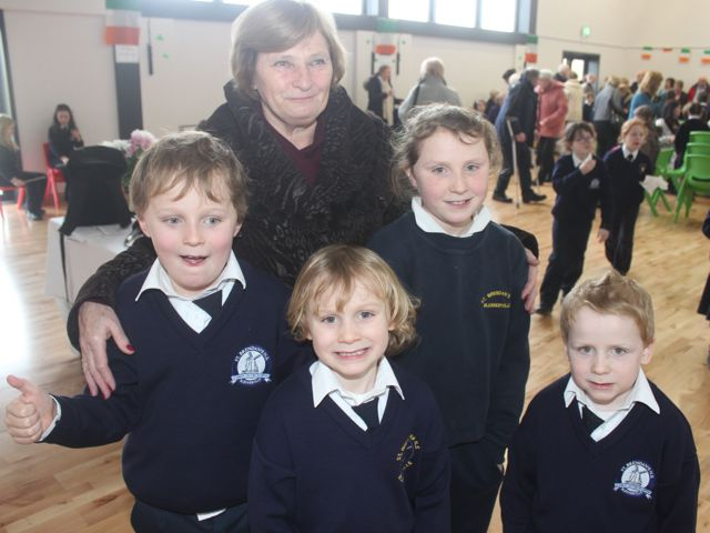 Margaret O'Brien with grandkids, Fionn, Rory, Keelin and Ruadh at the Grandparents Day at St Brendan's NS in Blennerville on Wednesday. Photo by Dermot Crean