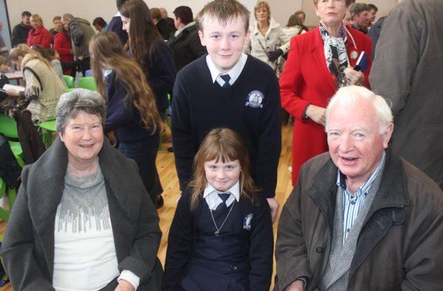 Helen and Michael Sexton with grandkids Ella and Luke Gethin at the Grandparents Day at St Brendan's NS in Blennerville on Wednesday. Photo by Dermot Crean