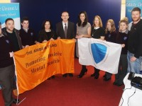 At Coláiste Gleann Lí accepting the Anti Bullying Flag and The Amber Flag were, from left: Paul McCarthy, Darren O'Sullivan, Conor Heislip, Anne O'Dwyer, Richard Lawlor, Sinead McKey, Muirne Egan, Marigh Wagegg, Abbie O'Sullivan and Donna  Hennebery. Photo by Gavin O'Connor.