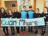 At the Chuile Mhuire talk for secondary school students were from left: Meabh Ni Ciomhagain, Siun Ni Mhuircheartaigh, Catherine McKenne (Cuan Mhuire), Michael Kelliher, Conor Murphy, Mary Fitzpatrick and Ciara Supple. Photo by Gavin O'Connor.
