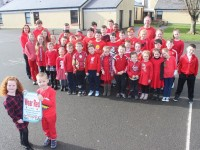 Holy Family pupils wear red for the day for 'Glow Hearts 4 Crumlin'. Photo by Gavin O'Connor.