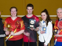 Maurice Lawlor (Ballyheigue Badminton Club) presenting The Winners Linda Burke (Ballyheigue), Paul Hayes( Listowel) and Runners Up  Claire Cahill(Kingdom) Patsy O'Connor (Ballyheigue) with their Trophies.
