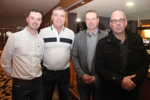 Sean Walsh, Mike Baker, Mervyn Peevers and Robert Sheehy at the fashion show in aid of Killahan National School at the Ballyroe Heights Hotel on Friday night. Photo by Dermot Crean