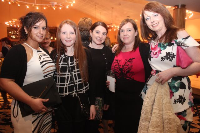 Samantha O'Callaghan, Chloe Gleeson, Catherine Cunningham, Eileen Cunnigham and Anne O'Brien at the fashion show in aid of Killahan National School at the Ballyroe Heights Hotel on Friday night. Photo by Dermot Crean