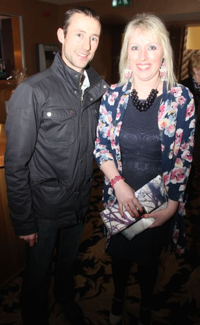 Joe Nolan and Karen O'Sullivan at the fashion show in aid of Killahan National School at the Ballyroe Heights Hotel on Friday night. Photo by Dermot Crean