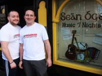 Sean Og's barmen, John Moriarty and Fergal Dooley  who are taking part in Virgin London Marathon  in April. Photo by Gavin O'Connor.