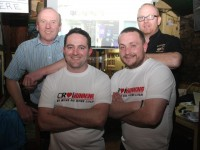 Organisers of the Race Night, Fergal Dooley and John Moriarty with (standing behind) Johnny McElligott and Niall Hayles in Sean Og's on Monday night. Photo by Dermot Crean