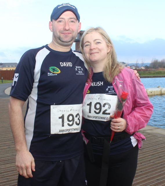 David and Ailish Hughes at the start of the Valentine's 10 Mile Road Race from Tralee Wetlands on Sunday morning. Photo by Dermot Crean
