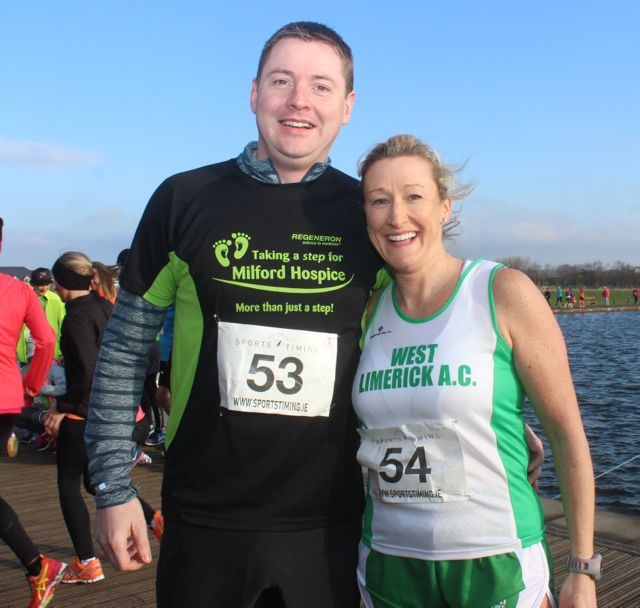 Kieran and Tara Carr at the start of the Valentine's 10 Mile Road Race from Tralee Wetlands on Sunday morning. Photo by Dermot Crean