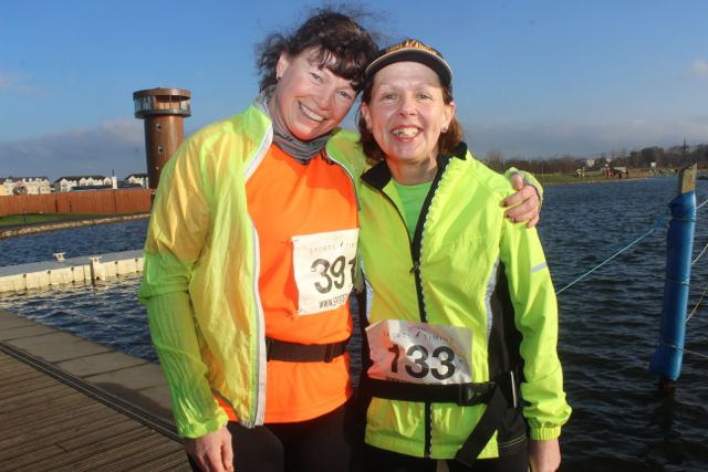 Loretto O'Sullivan and Lucy Fitzell at the start of the Valentine's 10 Mile Road Race from Tralee Wetlands on Sunday morning. Photo by Dermot Crean