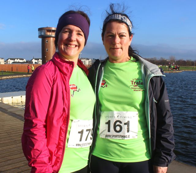 Sandra Hickey and Margaret Hanafin at the start of the Valentine's 10 Mile Road Race from Tralee Wetlands on Sunday morning. Photo by Dermot Crean