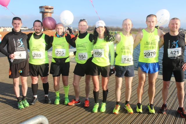 Colin Aherne, Greg McNamara, Mike Kissane, Christ Grayson, Rachel Stokes, Fozzie Forrestal, John Kennelly and Damien Quigg at the start of the Valentine's 10 Mile Road Race from Tralee Wetlands on Sunday morning. Photo by Dermot Crean