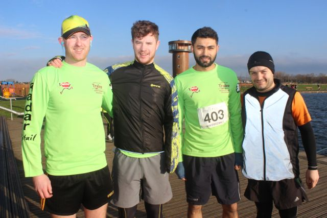 Daniel Doyle, Reggie Galvin, Ahsan Memon and Ciaran Duffin at the start of the Valentine's 10 Mile Road Race from Tralee Wetlands on Sunday morning. Photo by Dermot Crean