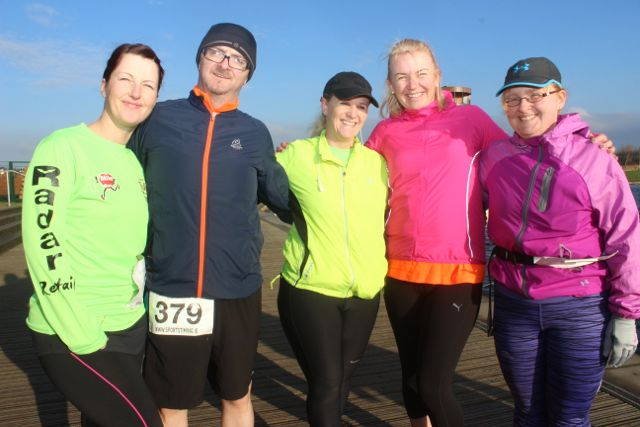 Christine Brosnan, Martin O'Sullivan, Deirdre Finn, Liz Ferriter and Anne O'Shea at the start of the Valentine's 10 Mile Road Race from Tralee Wetlands on Sunday morning. Photo by Dermot Crean