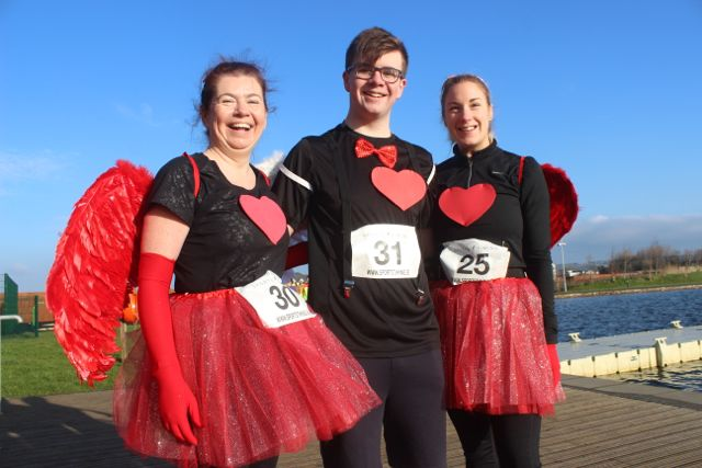 Betty and Jesse Brosnan with Edel Broderick at the start of the Valentine's 10 Mile Road Race from Tralee Wetlands on Sunday morning. Photo by Dermot Crean