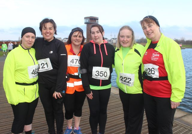 Honor Stack, Anne Ellard, Catherine Griffin, Catriona O'Halloran, Marie Kevane and Gretta Quirke at the start of the Valentine's 10 Mile Road Race from Tralee Wetlands on Sunday morning. Photo by Dermot Crean