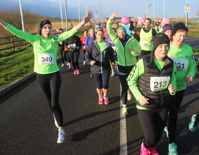 Runners at the start of the Valentine's 10 Mile Road Race from Tralee Wetlands on Sunday morning. Photo by Dermot Crean