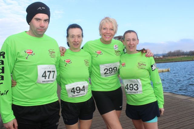 Ivan Tydings, Anne White, Maggie Large and Tess White at the start of the Valentine's 10 Mile Road Race from Tralee Wetlands on Sunday morning. Photo by Dermot Crean
