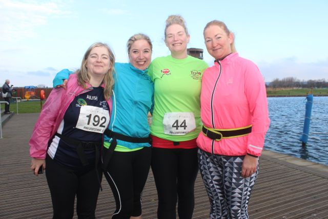 Ailish Hughes, Carol O'Hanlon, Niamh O'Sullivan and Ethel Meehan at the start of the Valentine's 10 Mile Road Race from Tralee Wetlands on Sunday morning. Photo by Dermot Crean
