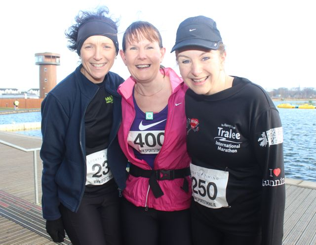 Martina Lawless, Mags O'Connor and Caroline Lynch at the start of the Valentine's 10 Mile Road Race from Tralee Wetlands on Sunday morning. Photo by Dermot Crean
