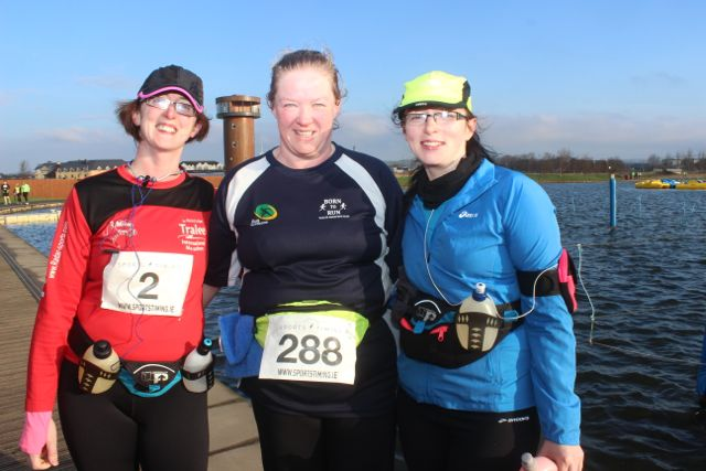 Niamh Abeyta, Kirsty McTrusty and Fiona McGee at the start of the Valentine's 10 Mile Road Race from Tralee Wetlands on Sunday morning. Photo by Dermot Crean