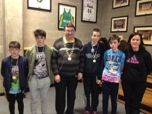 L to R. David Smith, Séan Kennedy, John Feeney Munster Badminton Chairperson, Séamus Bradley, Kevin Griffin, Ms. Áine Knightly