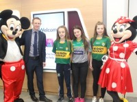 Colm Cooper with Sarah Barrett, Caragh O'Neill Freya O'Connor, Mickey and Minnie Mouse at the fun day at AIB in Castle Street, Tralee, on Tuesday. Photo by Dermot Crean