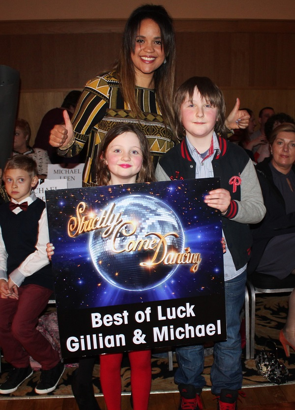 Caoimhe Dowling, Robin Kennerson and Oisn Dowling at Strictly Come Dancing in aid of Ardfert National School. Photo by Gavin O'Connor.
