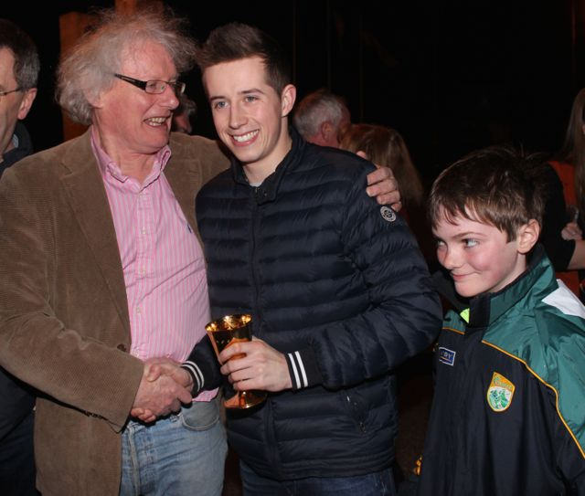 John Galvin and Paddy Moran with Bryan Cooper at his homecoming in Blennerville on Thursday night. Photo by Dermot Crean