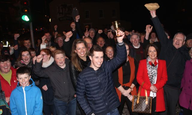 Well wishers with Bryan Cooper at his homecoming in Blennerville on Thursday night. Photo by Dermot Crean