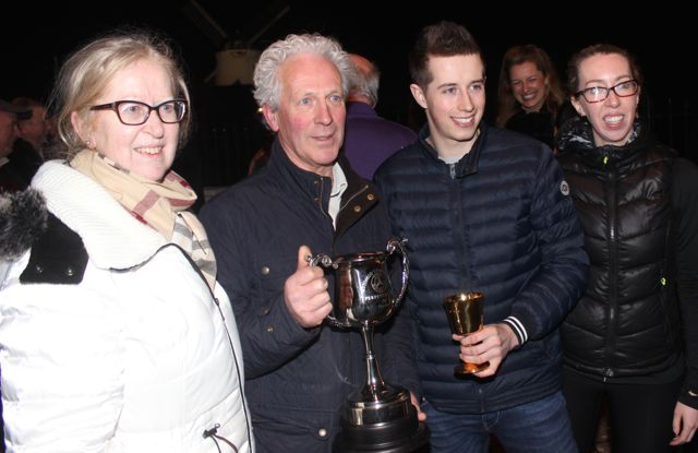 Brendan Farmer with his trophy for winning the Kerry Motor Club AutoSolo Champion 2015 trophy, with Bryan Cooper. Also included is Brendan's wife Margaret and daughter Una Glazier Farmer. Photo by Dermot Crean