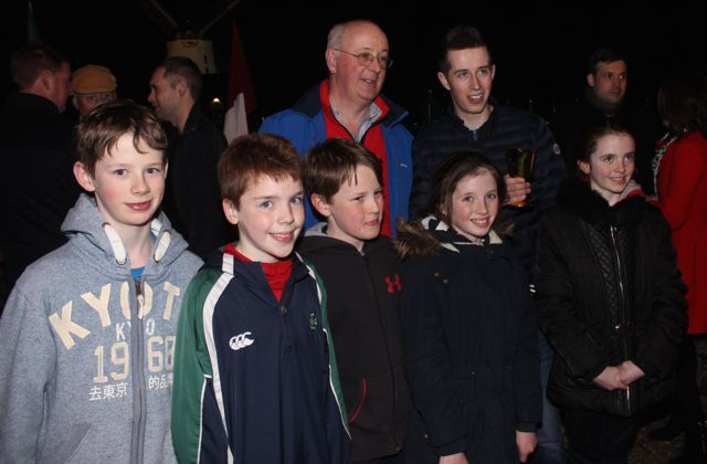 Michael Lynch and young fans with Bryan Cooper at his homecoming on Thursday night. Photo by Dermot Crean