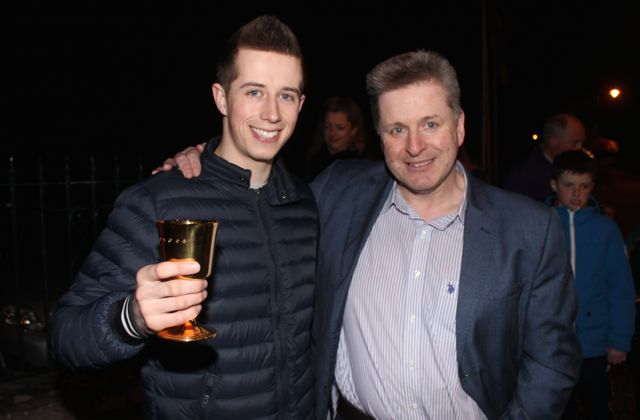 Bryan Cooper with Tom Quane of Skelper Quane's at the homecoming on Thursday night. Photo by Dermot Crean