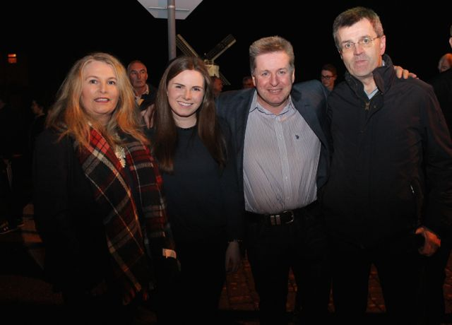 Catherine, Clodagh and Tom Quane with John Tarrant at Bryan Cooper's homecoming celebration in Blennerville on Thursday night. Photo by Dermot Crean