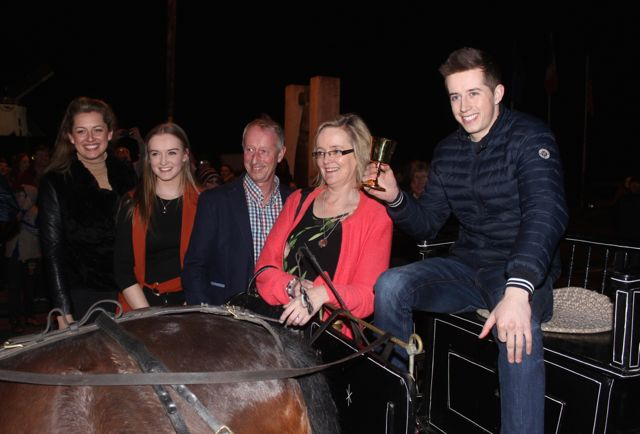 Bryan Cooper with girlfriend Melanie Young, sister Sarah Cooper and parents Geraldine and Tom at the homecoming in Blennerville on Thursday night. Photo by Dermot Crean