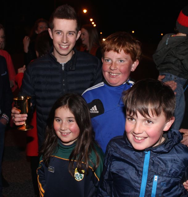 Fiadh, Sam and Jamie McCarthy at Bryan Cooper's homecoming celebration in Blennerville on Thursday night. Photo by Dermot Crean