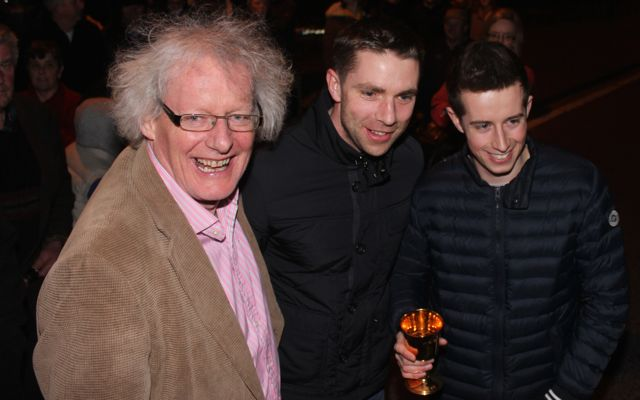 John Galvin and Marc O Se with Bryan Cooper at the homecoming in Blennerville on Thursday night. Photo by Dermot Crean