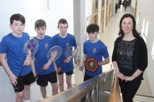 CBS The Green U14 Badminton Team, from left: David Smith, Kevin Griffin, Seamus Bradley, Sean Kennedy and Aina Knightly. Photo by Gavin O'Connor.