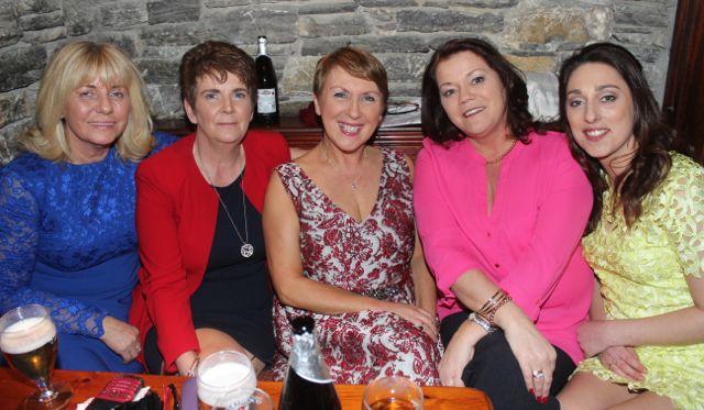 Mary Doyle, Margaret Ryan, Mary Roche, Sandra O'Callaghan and Kim Kerins at The Castle Bar on Wednesday. Photo by Dermot Crean