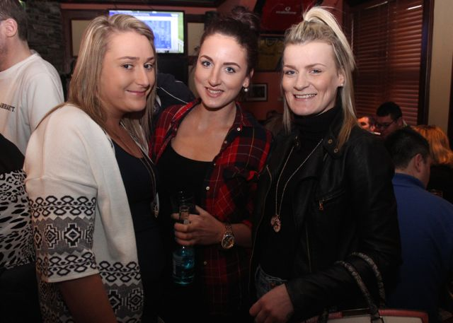 Joyce Brosnan, Laura McCrohan and Claire Moran at The Castle Bar on Wednesday. Photo by Dermot Crean