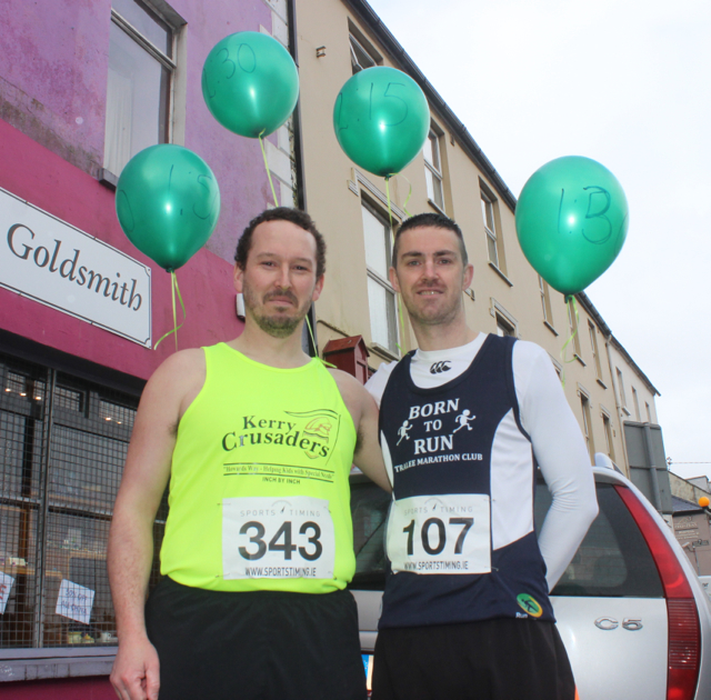 Greg McNamara and Colin 'Poshey' Aherne at the start of the Half Marathon on Saturday morning. Photo by Dermot Crean