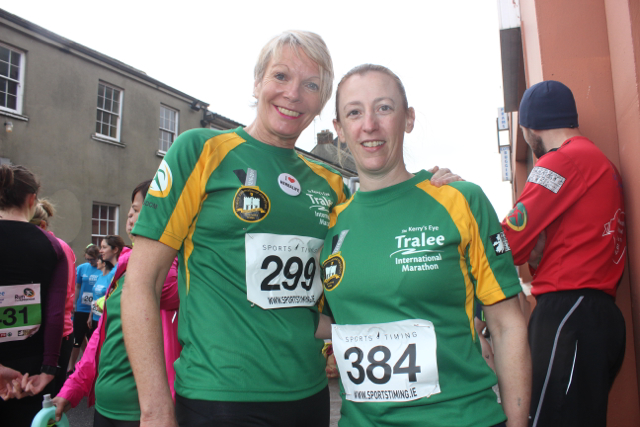 Maggie Large and Tessie Whyte at the start of the Half Marathon on Saturday morning. Photo by Dermot Crean