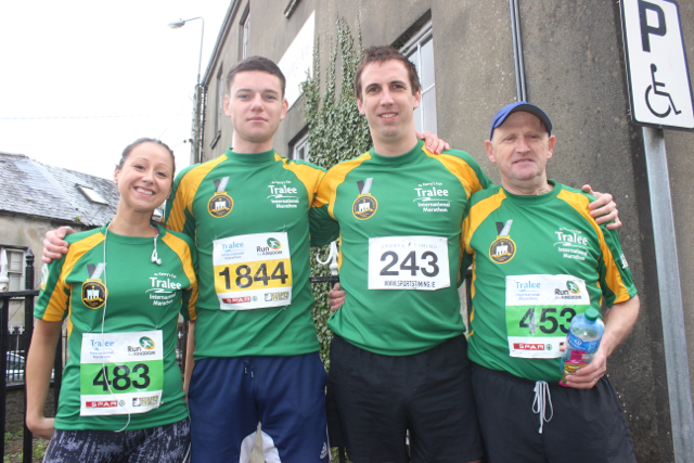 Mary Leahy, Ciaran Murphy, Sean Murphy and Tommy Keane at the start of the Half Marathon on Saturday morning. Photo by Dermot Crean