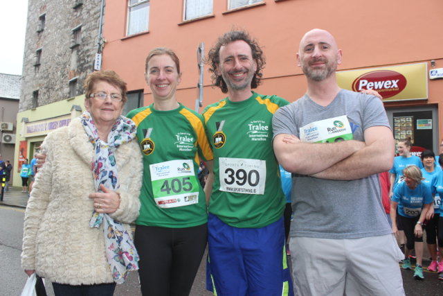 Peggy, Eithne, Andrew and Pat Lynch at the start of the Half Marathon on Saturday morning. Photo by Dermot Crean