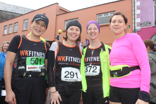Ikuko Wright, Ciara Ni She, Claire Finn and Grainne Ni Chonchuir at the start of the Half Marathon on Saturday morning. Photo by Dermot Crean