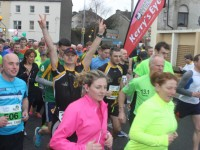 Participants at the start of the Half Marathon on Saturday morning. Photo by Dermot Crean