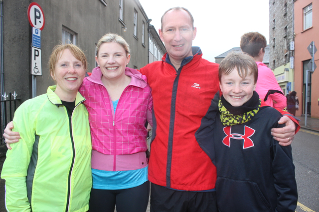 Lorna Whyte, Olga Naughton, Tony Talbot and Mark Talbot at the start of the Half Marathon on Saturday morning. Photo by Dermot Crean