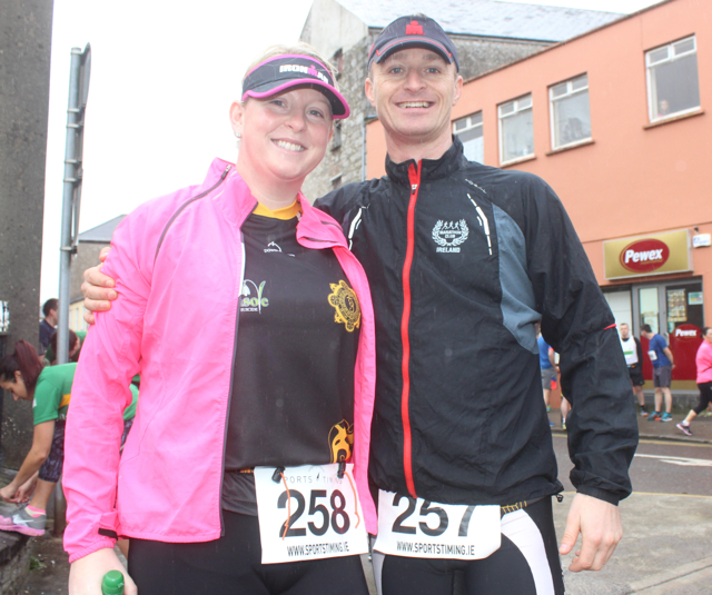 Gilda Moloney and Johnny O'laughlin, Killaloe, at the start of the Half Marathon on Saturday morning. Photo by Dermot Crean