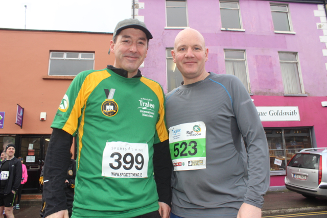 Mick Walsh and Paul Fitzgibbon at the start of the Half Marathon on Saturday morning. Photo by Dermot Crean